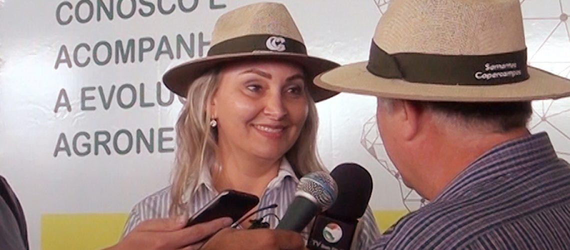 A Vice-governadora de Santa Catarina Daniela Reinert participou da abertura do Dia de Campo/Foto: Bom Dia SC
