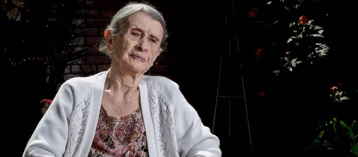 A polonesa Chana Flam no lar de idosos em Belo Horizonte onde viveu/Foto: Alexandre Rezende-Folhapress