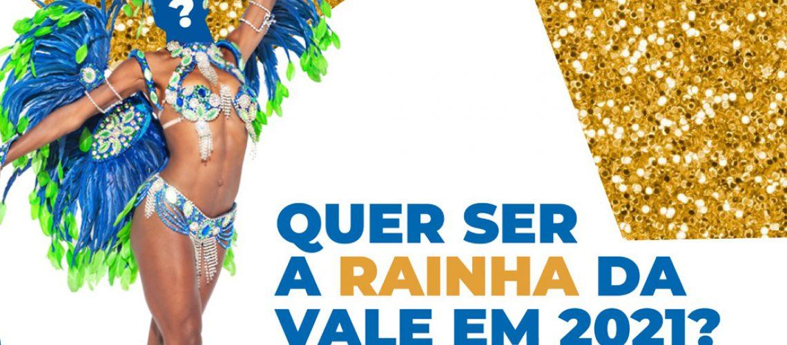 A coroação da Rainha Vale Samba ocorrerá no Pavilhão Vale Samba durante uma Live, no dia 12/09/2020