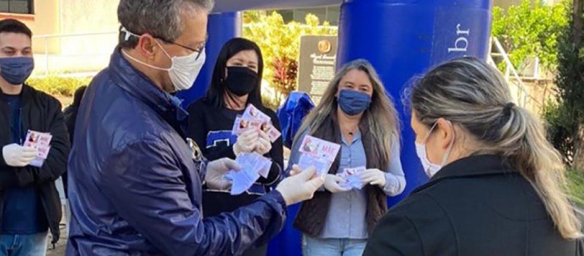 Esta foi a segunda campanha da CDL/Joaçaba de distribuição gratuita de máscaras/Foto: Assessoria de Imprensa