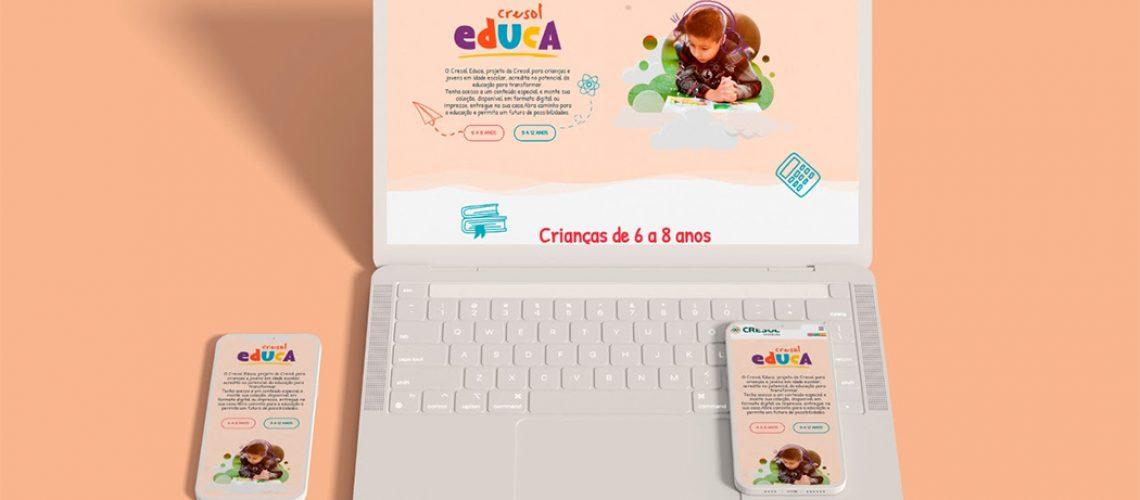 O Cresol Educa tem conteúdos para crianças de 6 a 12 anos