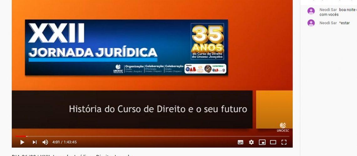 Jornada Jurídica encerrou com uma live comemorativa contando a história do curso